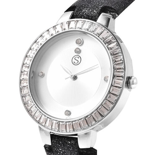 3 Piece Set - STRADA Japanese Movement White Austrian Studded Water Resistant Watch with Black Strap, Simulated Black Spinel Studded Earrings and Pendant with Chain (Size 24) in Silver Tone