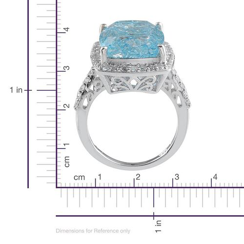 Blue Crackled Quartz (Cush 11.50 Ct), White Topaz Ring in Platinum Overlay Sterling Silver 12.250 Ct.