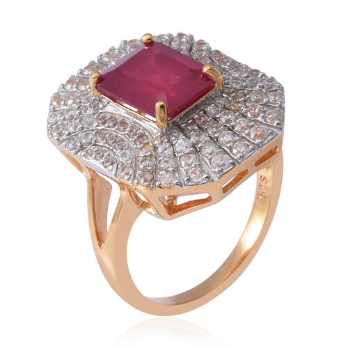 Cocktail Art Deco Collection- African Ruby ( Rare Size Oct 10x8 mm), Natural White Cambodian Zircon Ring in Yellow Gold and Platinum Overlay Sterling Silver 7.270 Ct