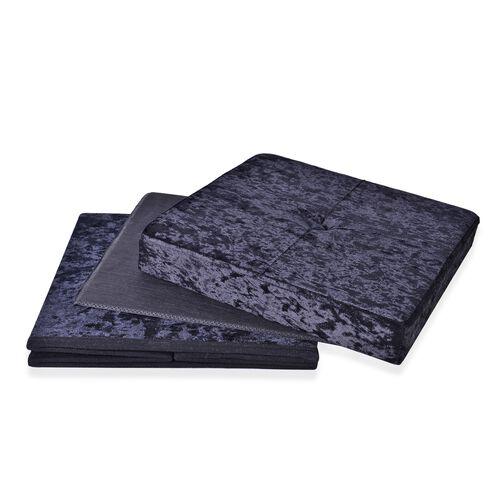 Black Colour Stylish Crushed Velvet Foldable Seater Storage Ottoman (Size 38x38x38 cm)