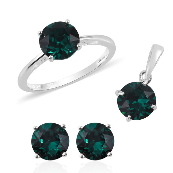 3 Piece Set - J Francis Crystal from Swarovski Emerald Colour Crystal Solitaire Ring, Stud Earrings