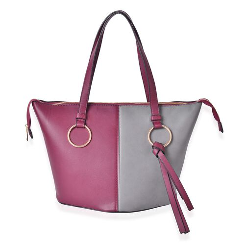 Delia Colour Block City Bag with External Zipper Pocket (Size 44x30x27x20 Cm)