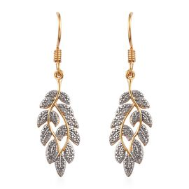 Diamond (Rnd) Leaf Hook Earrings in 14K Gold and Platinum Overlay Sterling Silver