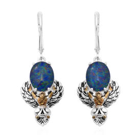 AA Australian Boulder Opal Lever back Earrings in Two Tone Overlay Sterling Silver 3.68 Ct, Silver w
