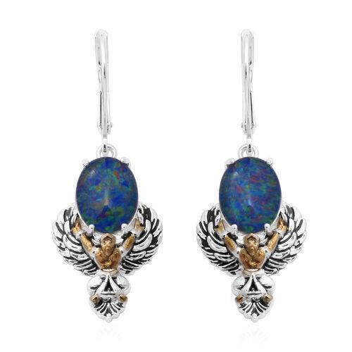 AA Australian Boulder Opal Lever back Earrings in Two Tone Overlay Sterling Silver 3.68 Ct, Silver w