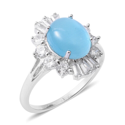 ELANZA Simulated Blue Opal (Ovl), Simulated Diamond Ring in Rhodium Overlay Sterling Silver