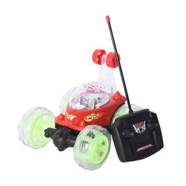 DOD - Multicolour LED Light Racing Stunt Car with Controller 360 Spinning (Size 18x15x16 Cm) - Red,