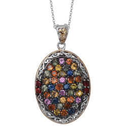 Limited Edition- Designer Inspired- Rainbow Sapphire (Rnd) Pendant With Chain (Size 18) in Two Tone Sterling Silver 6.090 Ct, Silver wt 8.20 Gms