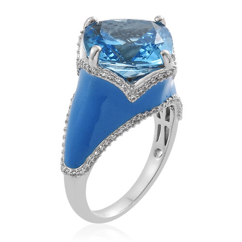 TJC Launch - Marambaia Topaz (Cush 11.00 Ct), Natural Cambodian Zircon Enameled Ring in Platinum Overlay Sterling Silver 11.500 Ct. Silver wt 6.30 Gms. Number of Gemstone 117