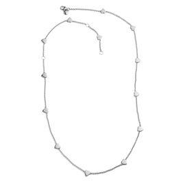RACHEL GALLEY Station Heart Necklace in Rhodium Plated Sterling Silver 26 Inch