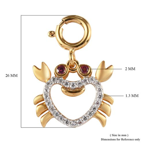 Sundays Child - Rhodolite Garnet, Natural Cambodian Zircon Crab Chram in 14K Gold Overlay Sterling Silver