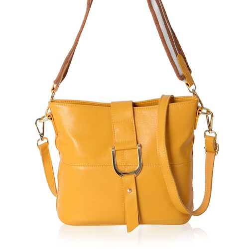 New Season-100% Genuine Leather Mustard Colour Crossbody Bag with External Zipper Pocket (Size 29x25.5x23x13 Cm)