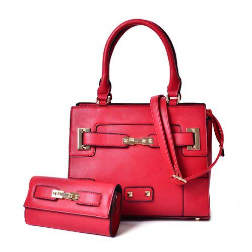 Set of 2 - Red Colour Large Handbag with Adjustable Shoulder Strap and Small Handbag (Size 33.5x29.5x12.5 Cm, 19.5x10 Cm)