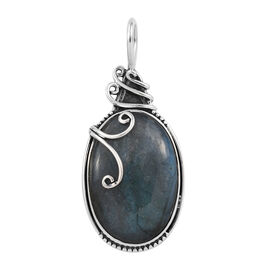35.63 Ct Labradorite Solitaire Pendant in Sterling Silver 5.18 Grams
