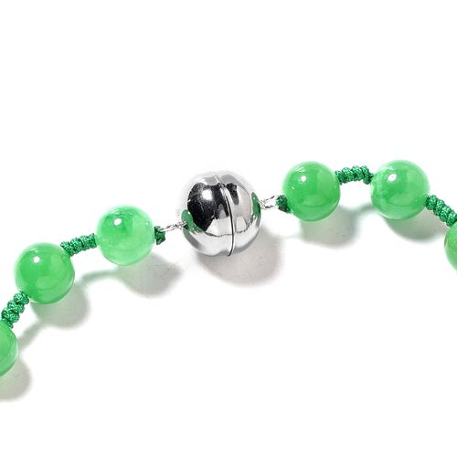 Rare Size Hand Carved Green Jade Necklace (Size 18) with Magnetic Lock in Rhodium Overlay Sterling Silver 450.00 Ct
