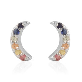 RACHEL GALLEY - Rainbow Sapphire Earrings in Rhodium Overlay Sterling Silver