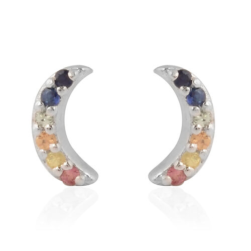 RACHEL GALLEY - Rainbow Sapphire Earrings in Rhodium Overlay Sterling Silver