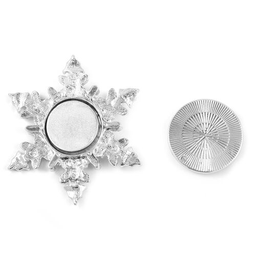 Snowflake Design White Crystal Magnetic Brooch