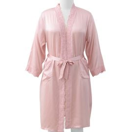 100% Mulberry Silk Robe with Lace in Powder Pink Colour - Size XL