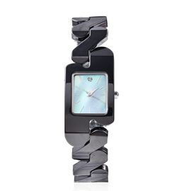 EON 1962 Swiss Movement Water Resistance Diamond Studded Rectangular Watch with Grey Mother of Pearl