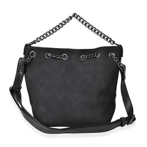 Set of 2 - Black Colour Handbag with Chain Strap (Size 31X26X21X13.5 Cm) and Pouch (Size 22X18X9 Cm)