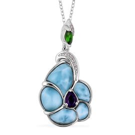 Larimar, Amethyst, Russian Diopside and Natural White Cambodian Zircon Floral Pendant With Chain (Size 18) in Rhodium Overlay Sterling Silver 5.245 Ct.