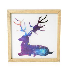 Home Decor - 3D Reindeer Painting with MDF Wooden Photo Frame (Size 24x24x4.8 Cm)