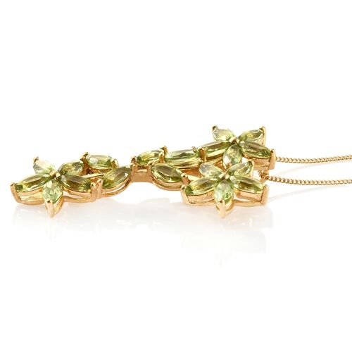 Hebei Peridot (5.25 Ct) 14K Gold Overlay 14K Gold Overlay Sterling Silver Pendant With Chain  5.250  Ct.