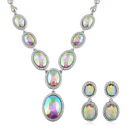 2 Piece Set - Simulated Mystic Topaz, White and AB Austrian Crystal Necklace and Earrings (Size 20 w