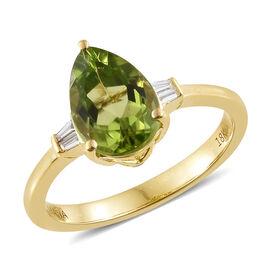 Signature Collection-ILIANA 18K Yellow Gold AAA Hebei Peridot (Pear 1.75 Ct), Diamond (SI/G-H) Ring 1.840 Ct.
