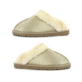 Ella Sparkle Supersoft Faux Fur Mule Slipper in Gold Colour