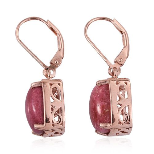 Norwegian Thulite (Cush) Lever Back Earrings in Rose Gold Overlay Sterling Silver 8.500 Ct.