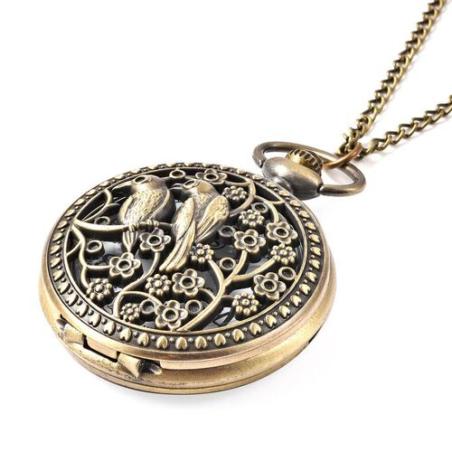 STRADA Japanese Movement Bird Pattern Pocket Watch with Chain (Size 31) in Antique Bronze Plated