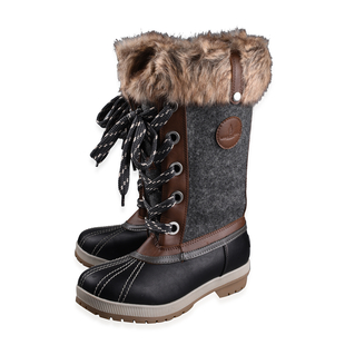 London Fog Womens Winter Boots - Brown and Grey (Size 8)