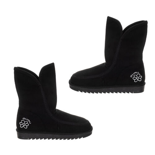 GURU Womens Winter Fluffy Ankle Boots (Size 5) - Black