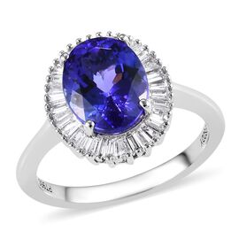 RHAPSODY 2.85 Ct AAAA Tanzanite and Diamond Halo Ring in 950 Platinum 4.75 Grams VS EF