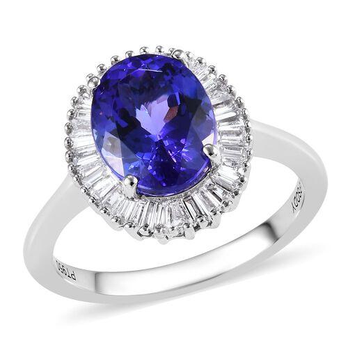 RHAPSODY 2.85 Ct AAAA Tanzanite and Diamond Halo Ring in 950 Platinum 4.75 Grams VS EF