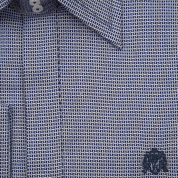William Hunt Saville Row Forward Point Collar White and Dark Blue Shirt Size 16.5