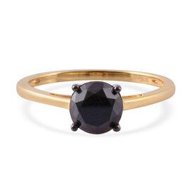 Black Diamond (Rnd) Ring in 14K Gold Overlay Sterling Silver 2.000  Ct.