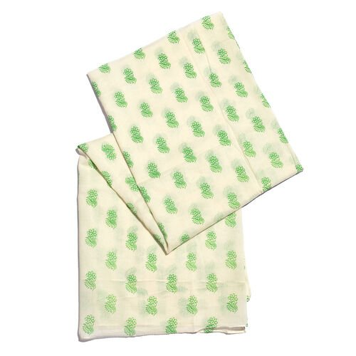 100% Cotton White and Green Colour Printed Scarf (Size 200x90 Cm)