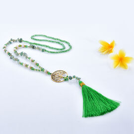 Indian Emerald Tree of Life Tassel Necklace With Faceted Glass Beads 32 Inch