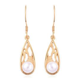 Freshwater Pearl (Rnd) Hook Earrings in 14K Gold Overlay Sterling Silver