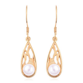 Freshwater Pearl (Rnd) Hook Earrings in 14K Gold Overlay Sterling Silver