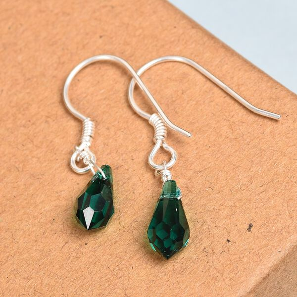 J Francis Crystal from Swarovski Emerald Colour Crystal Hook Earrings in Sterling Silver