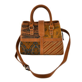 100% Genuine Leather Hand Crafted Batik Handbag with Adjustable Strap (Size 25x14x20 Cm) - Brown and