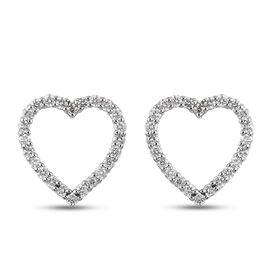RHAPSODY 950 Platinum and IGI Certified Diamond (E-F/VS) Heart Earrings (with Screw Back) 0.60 Ct.