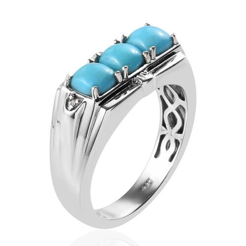Arizona Sleeping Beauty Turquoise (Cush), Natural Cambodian Zircon Ring in Platinum Overlay Sterling Silver 1.77 Ct, Silver wt 5.71 Gms