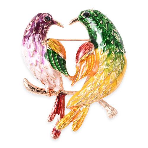 Black Austrian Crystal Enamelled Love Bird Brooch in Gold Tone
