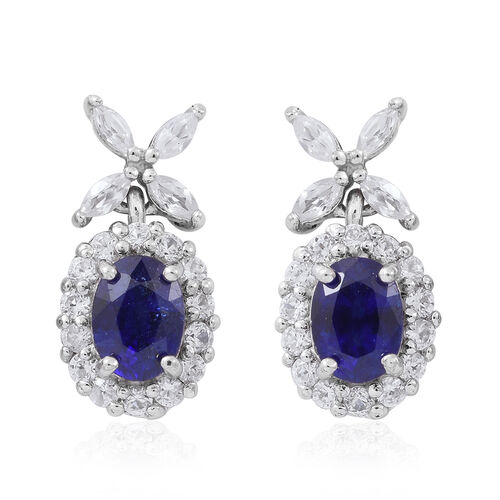 Preview Auction-Masoala Sapphire (Ovl), Natural White Cambodian Zircon Earrings (with Push Back) in Rhodium Plated Sterling Silver 6.000 Ct.