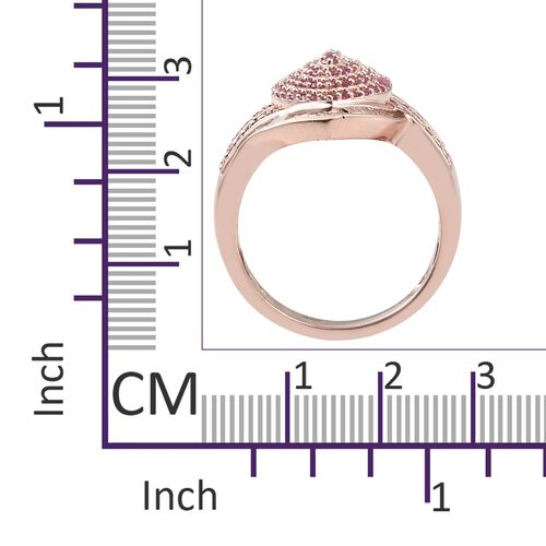 Designer Inspired - AAA Pink Sapphire (Rnd), Diamond Ring in Rose Gold Overlay Sterling Silver 2.000 Ct.Diamond Wt 0.25 Cts